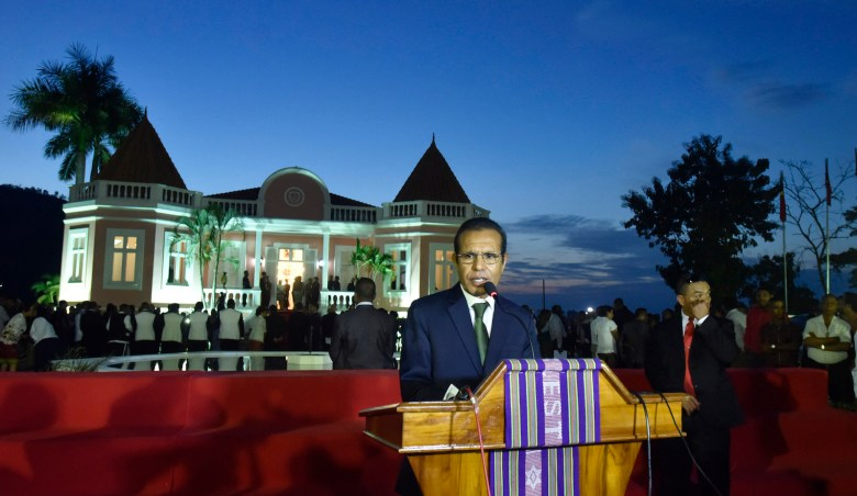 East Timor's former guerilla fighter Taur Matan Ruak delivers a speech as Prime Minister at the Palacio Nobre Lahane in capital Dili on June 22, 2018. - East Timor swore in a new government led by former guerilla fighter Taur Matan Ruak on Friday following a protracted political crisis that has paralysed the tiny Southeast Asian nation. (Photo by Valentino Dariell DE SOUSA / AFP)