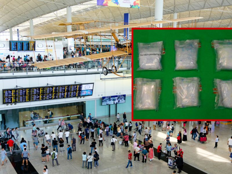HK Customs seized about 3.6 kg of suspected methamphetamine at Hong Kong International Airport. Photo: iStock, HK Government