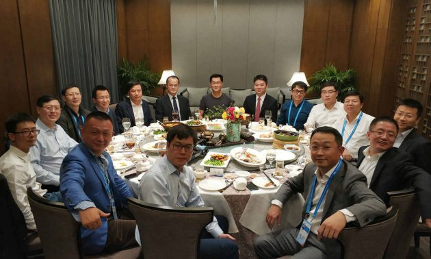 A group photo at last year's Wuzhen dinner, with Tencent's Pony Ma and JD.com's Richard Liu sitting at the center as guests of honor.  Photo: WeChat