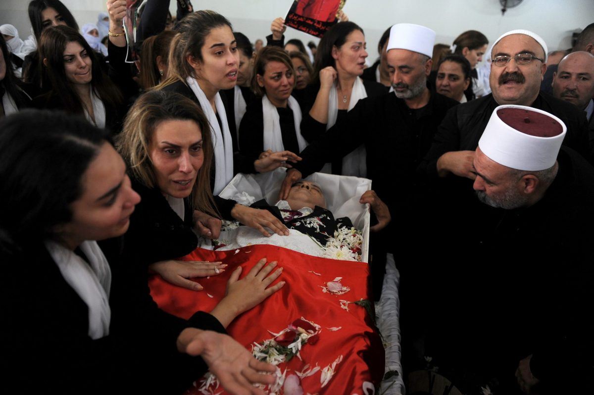 Relatives and clerics attend the funeral of Mohammed Abu Diab, a bodyguard of the former Lebanese minister Wiam Wahhab in the village of al-Jahiliya, in Mount Lebanon, December 2, 2018.  Photo: Mustafa JAMALEDDINE / AFP