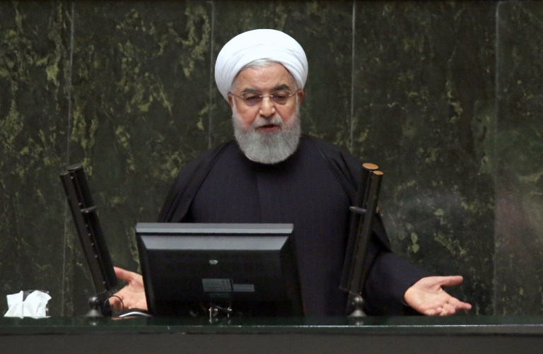 Iranian President Hassan Rouhani addresses parliament in Tehran on December 25. Photo: AFP