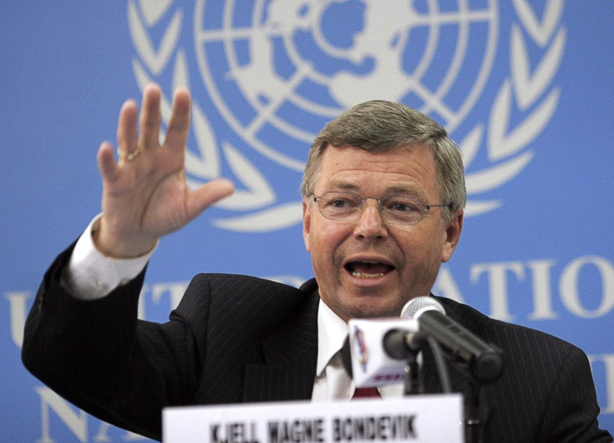 UN Special Humanitarian Envoy to the Horn of Africa Kjell Bondevik speaks to the media at UN headquarters in Gigiri, Nairobi. Photo: AFP/Simon Maina