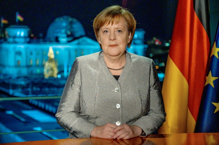 Chancellor Angela Merkel tapes New Year's speech to the German people. Image: AFP