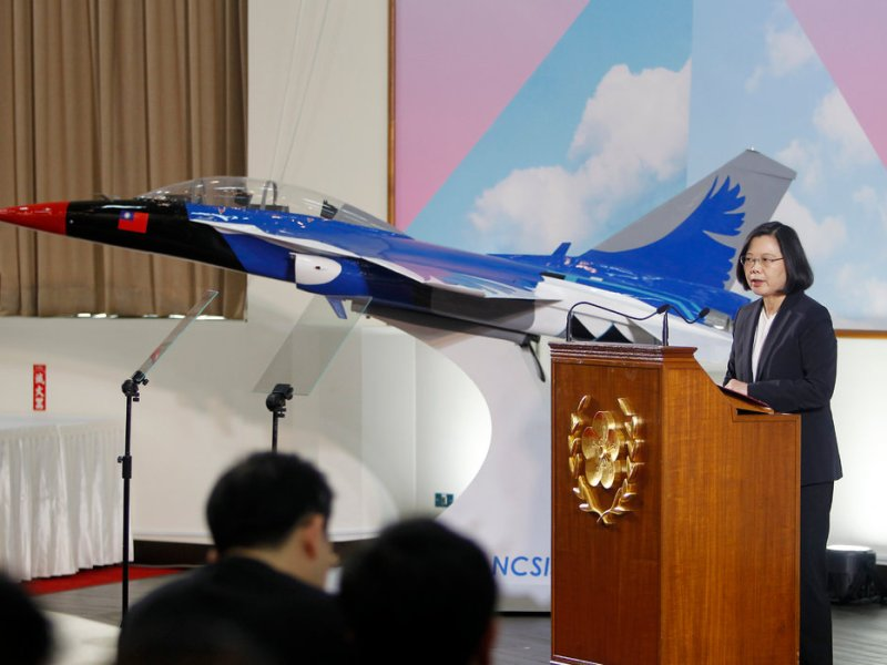 A file photo shows Taiwanese President Tsai Ing-wen speaking at a dedication ceremony of a new homemade fighter series. Photo: Central News Agency of Taiwan