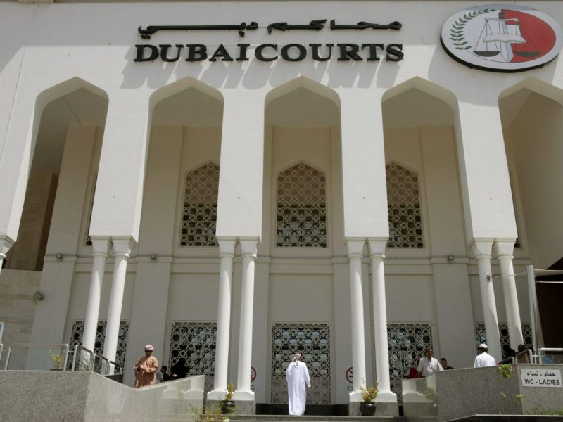 The facade of the Dubai Courts building where the Australian was tried. Photo: AFP