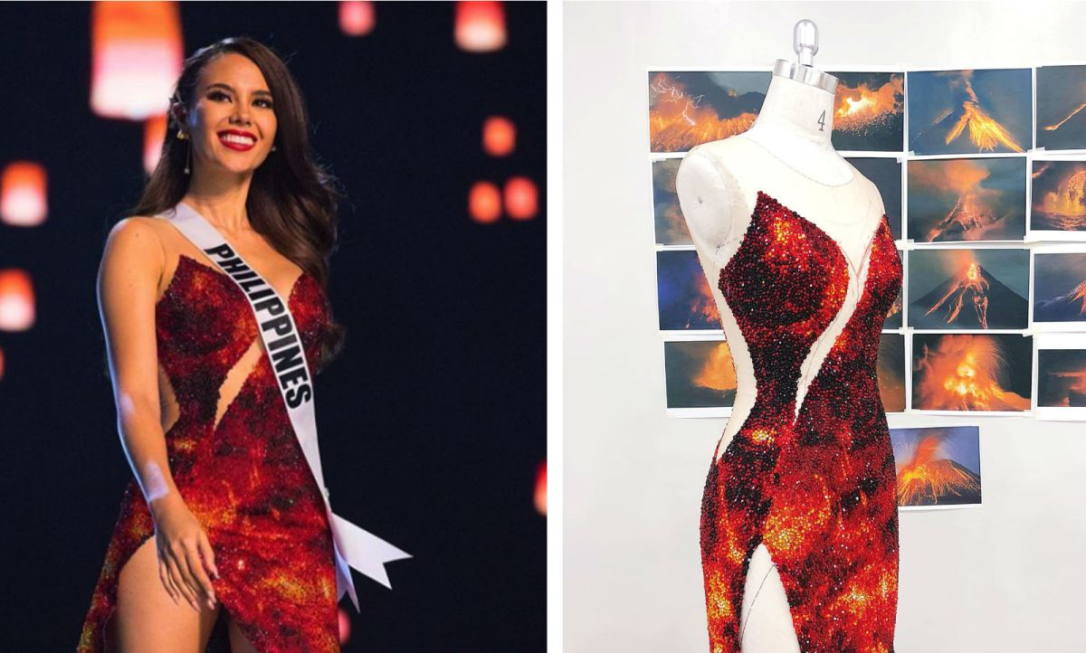 Miss Universe Catriona Gray's gown was designed by a Filipino, who said it was inspired by the iconic Mayon volcano in Albay in the Philippines. Photos: Instagram @missuniverse, Facebook (Mak Tumang