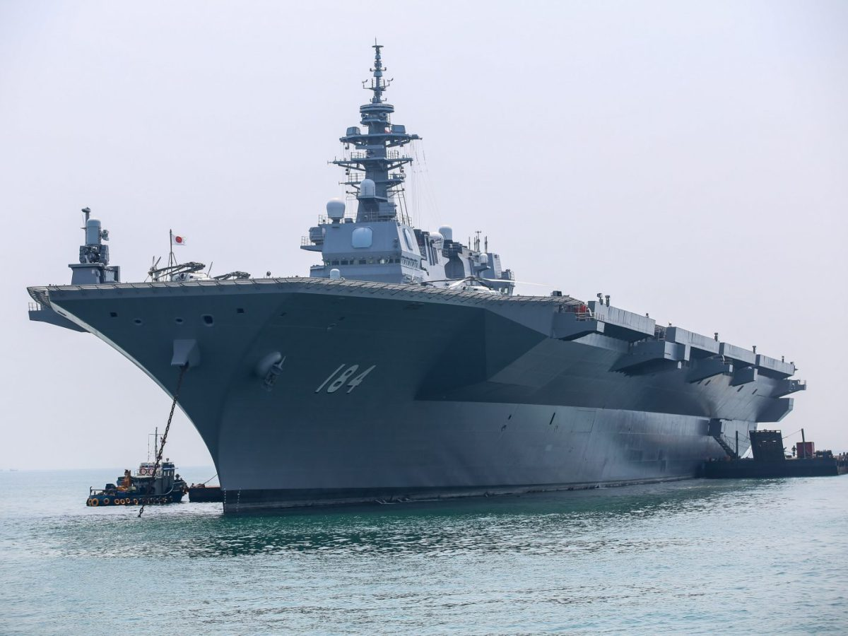 An Izumo-class ship of the Japan Maritime Self-Defense Force arrives at Tanjung Priok port in Jakarta, Indonesia, on September 18, 2018. Photo: AFP/Andrew Lotulung/NurPhoto