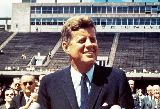 US president John F Kennedy at Rice University in Houston on September 12, 1962. Photo: Wikipedia