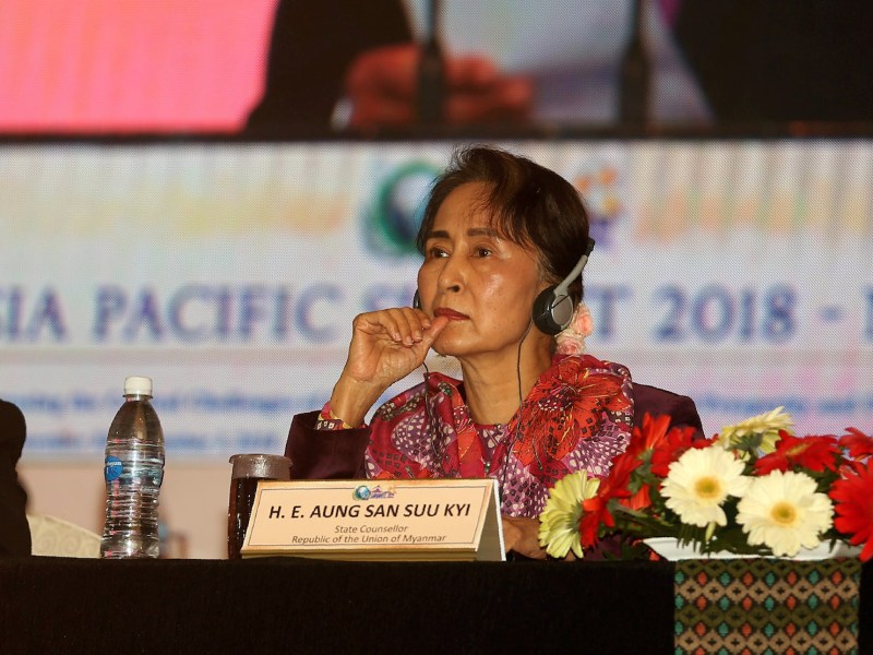 Myanmar's civilian leader Aung San Suu Kyi attends the Asia Pacific Summit 2018 in Kathmandu on December 1, 2018. Photo: AFP/Sunil Sharma/Pool