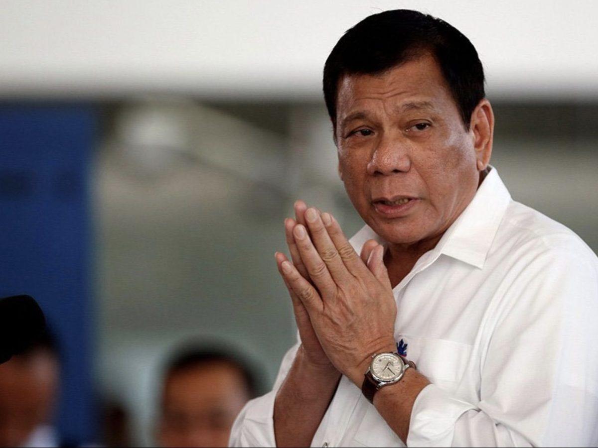 Philippine President Rodrigo Duterte says a prayer in a file photo. Image: Facebook