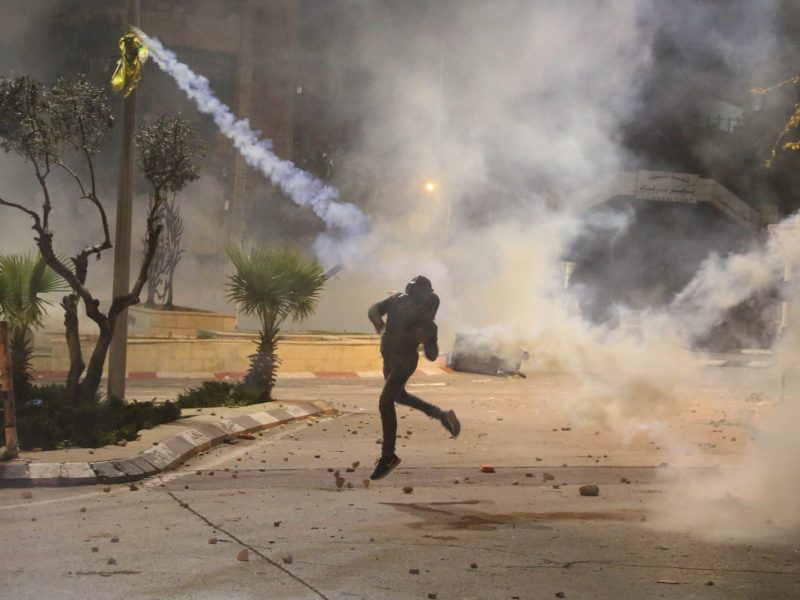 Palestinians throw tear gas canisters during a protest after Israeli forces made raids on houses and shops in Ramallah on the West Bank on January 7, 2019. Photo: AFP/Issam Rimawi/Anadolu Agency