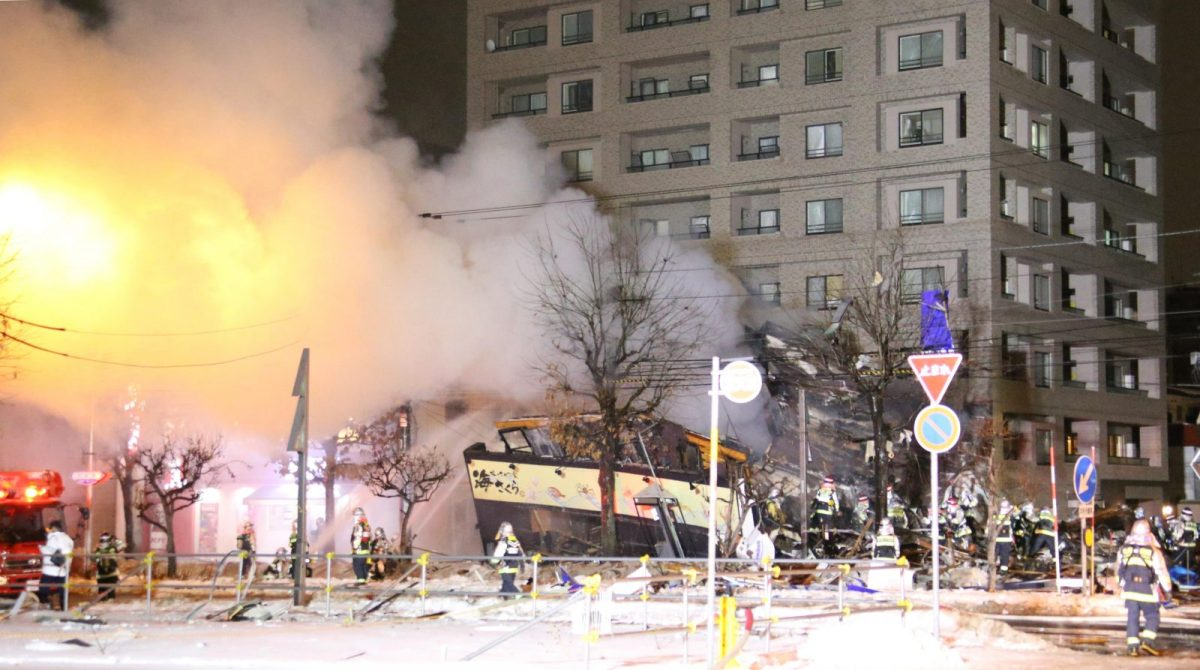 A gas explosion happened in Sapporo City, Hokkaido Prefecture, at about 8:30 pm on December 16, 2018. Photo: AFP/The Yomiuri Shimbun