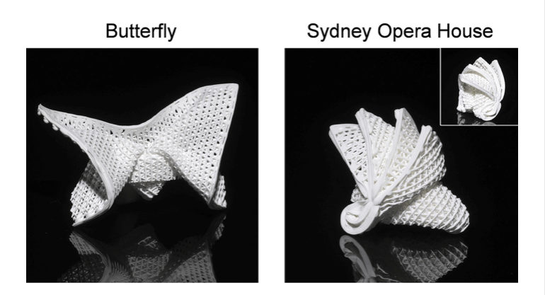 The 4D-printed ceramics are soft and stretchable, enabling complex shapes, such as origami. Photo: Handout
