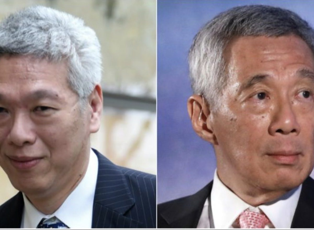Split screen image of Lee Hsien Loong (R) and his brother Lee Hsien Yang (L). Photo: AFP/Facebook