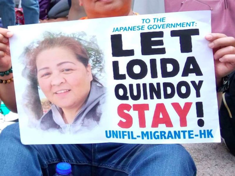 A protest banner supporting Loida Quindoy.  Photo: Facebook
