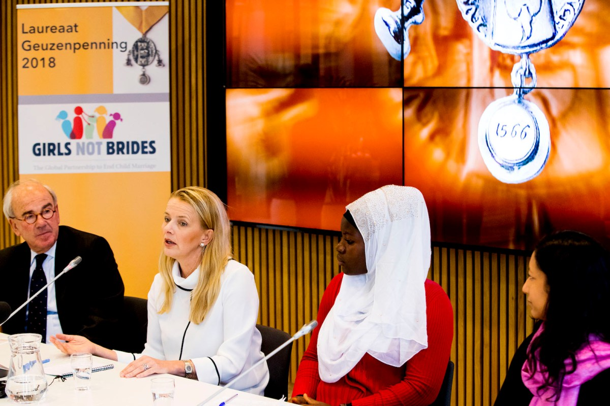 Princess Mabel of the Netherlands with Kasawadu Abubakari (Girls not Brides Ghana) and Lakshmi Sundaram (director of Girls not Brides) speak during a press conference about an award for Girls Not Brides in Vlaardingen,  Netherlands, in March 2018. Photo: AFP / Patrick van Katwijk / Dutch Photo Press