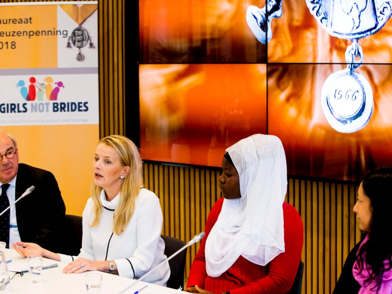 Princess Mabel of the Netherlands with Kasawadu Abubakari (Girls not Brides Ghana) and Lakshmi Sundaram (director of Girls not Brides) speak during a press conference about an award for Girls Not Brides in Vlaardingen,  Netherlands, in March 2018. Photo: AFP / Patrick van Katwijk / Dutch Photo Press
