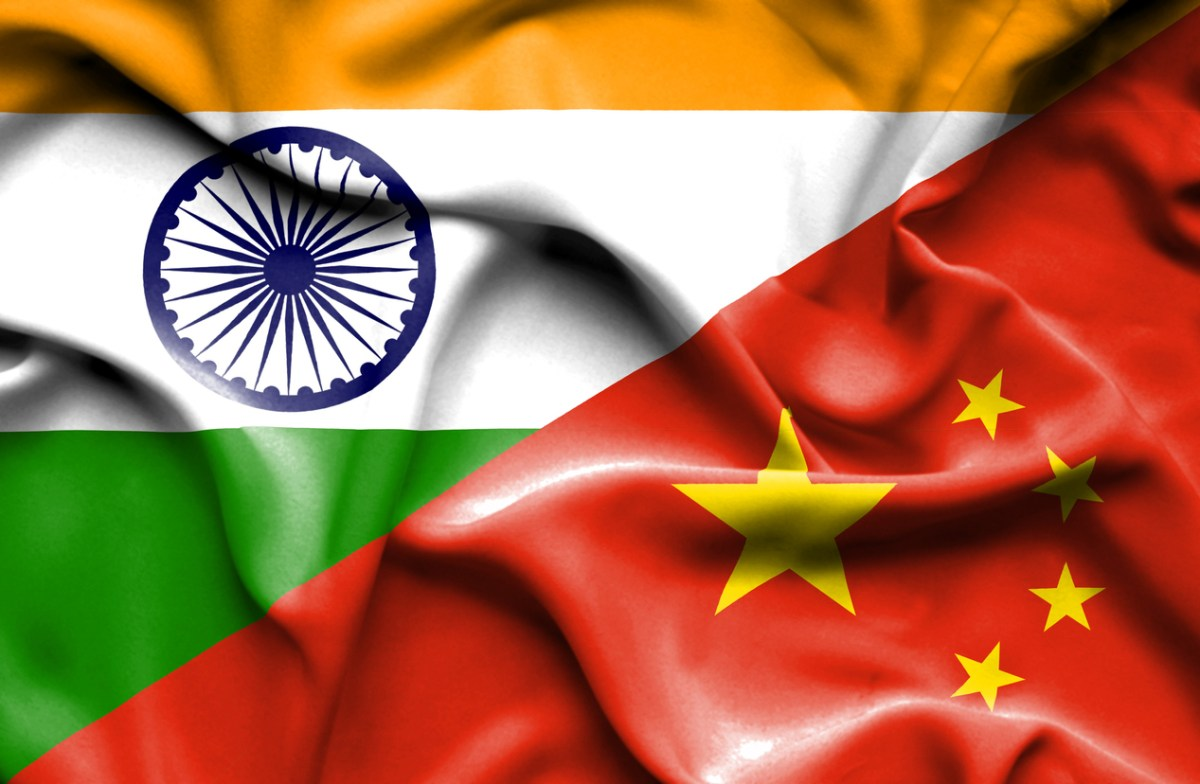 India flag with China flag. Image: iStock