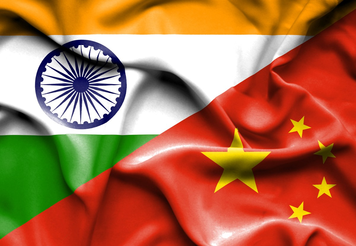 India flag with China flag. Image: iStock