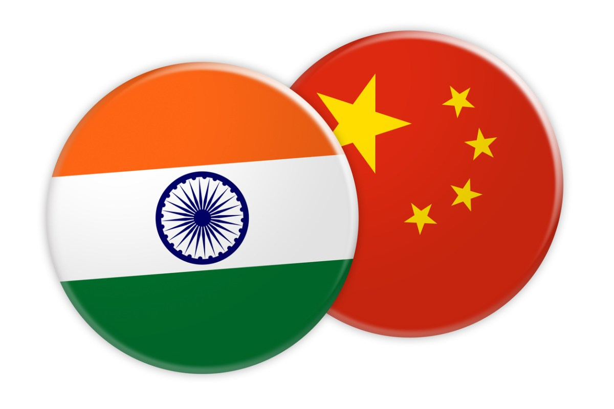 India and China flag buttons. Image: iStock