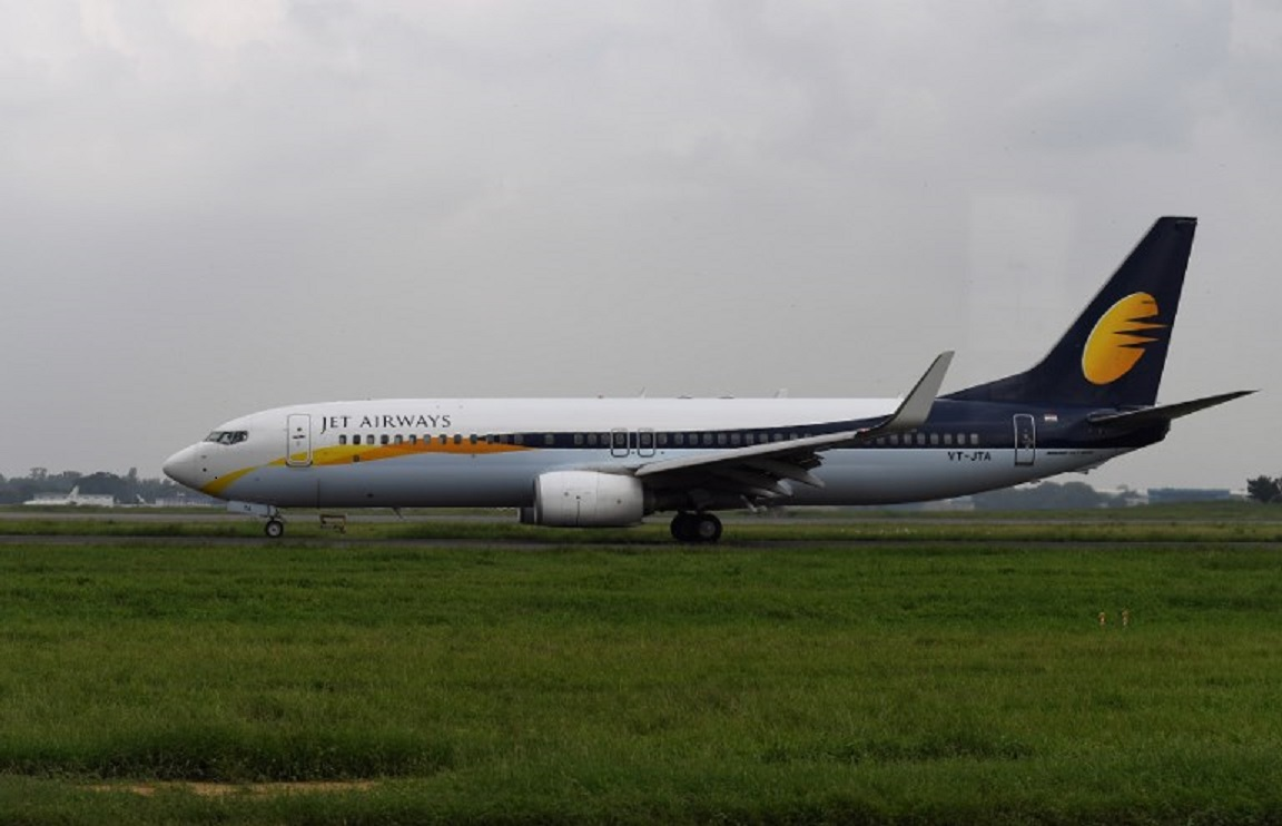 A Jet Airways aircraft at New Delhi's Indira Gandhi International Airport. Photo: AFP
