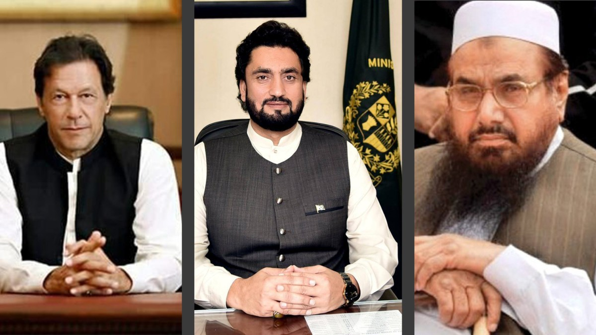 From left to right: Pakistan Prime Minister Imran Khan; Interior Minister Shehryar Afridi; Lashkar-e-Taiba leader Hafiz Saeed. Photo: File pics