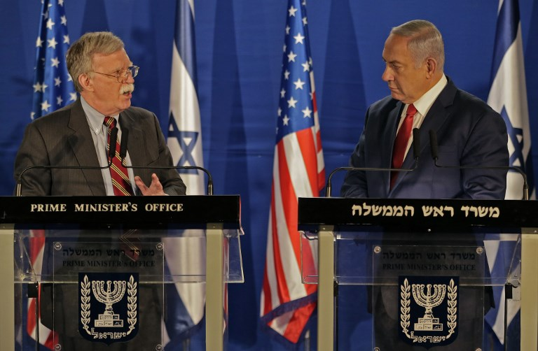 Israeli Prime Minister Benjamin Netanyahu (R) speaks with US national security adviser John Bolton, after their meeting in Jerusalem on Sunday. Photo: AFP