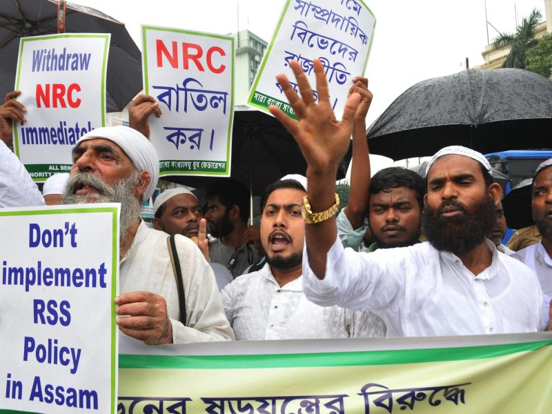 Indian Muslims rally in Kolkata against the Assam government  and the Bharatiya Janata Party (BJP) to demand the immediate withdrawal of the National Register of Citizens on July 31, 2018. Photo: Debajyoti Chakraborty / NurPhoto / AFP