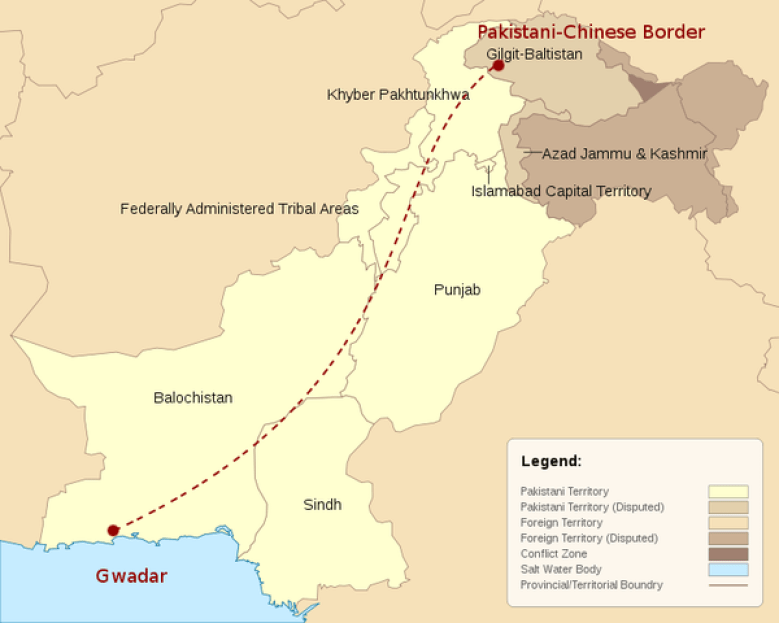 A map shows the route of the China-Pakistan Economic Corridor. Photo: Wikimedia Commons/ Wanishahrukh