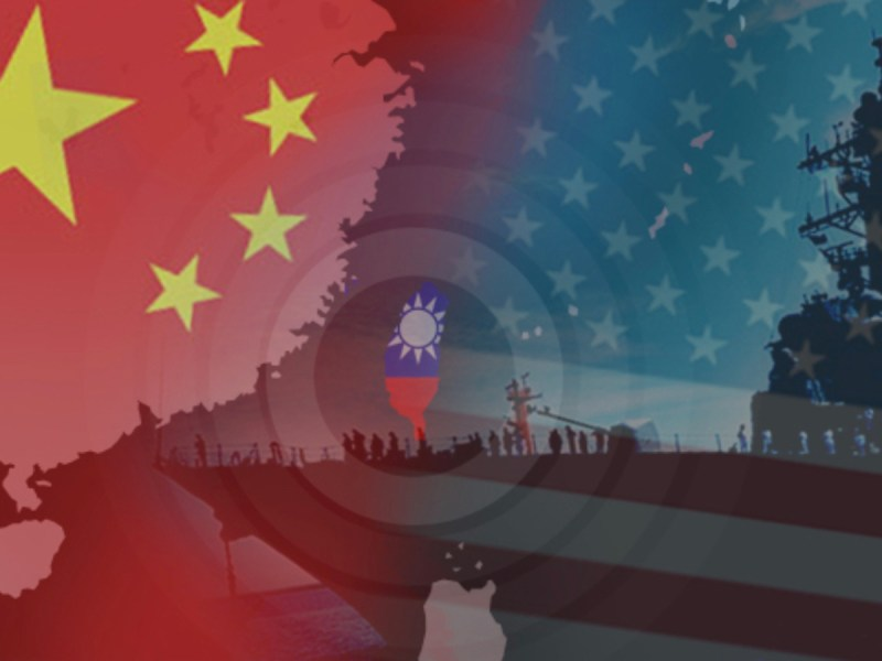 Collage image of China, Taiwan and US flags against a naval ship background. Photo: Facebook