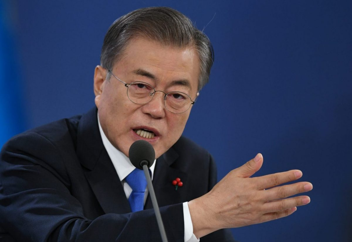 South Korean President Moon Jae-in holds his New Year press conference at the presidential Blue House in Seoul on January 10, 2019. Photo: AFP/Jung Yeon-je