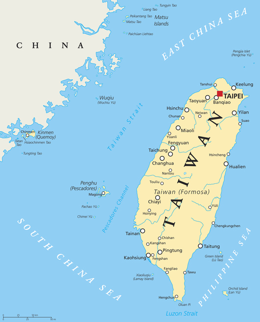 Taiwan, Republic of China, political map with capital Taipei, national borders, important cities, rivers and lakes. English labeling and scaling. Illustration.