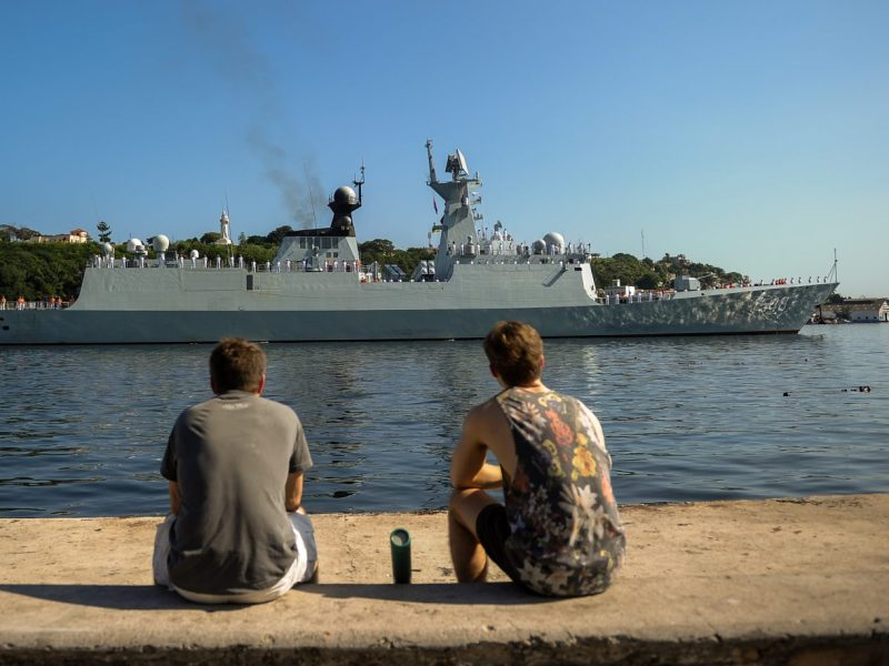 A Chinese Navy Type 054A frigate enters the port of Havana on November 10, 2015. Work on Pakistan's first Chinese frigate has now started. Photo: AFP/Yamil Lage