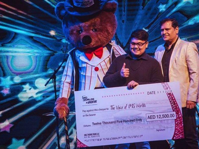 Filipino Jovan Aquino was  the first winner of the biggest singing contest in the United Arab Emirates. Photo: Instagram/@jovanaquino