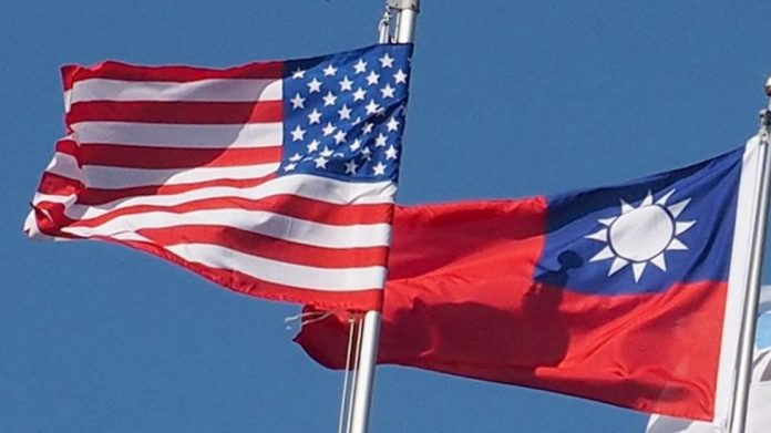 Taiwanese flag flies