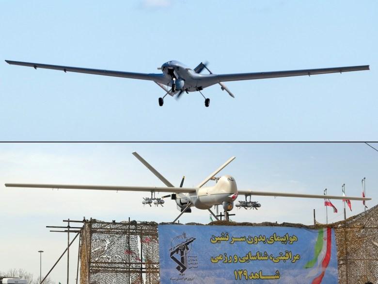 На этой комбинации снимков от 1 октября 2020 г. показаны (вверху) дрон Bayraktar TB2 турецкого производства на военной авиабазе Гечиткале недалеко от Фамагусты и (внизу) дрон иранского производства Shahed-129. Фото: AFP / Бирол Бебек и Атта Кенаре
