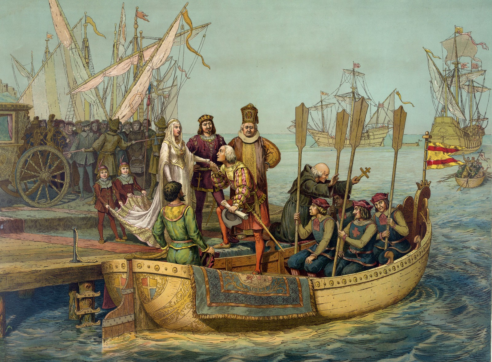 Christopher Columbus taking leave of Isabella of Castile and Ferdinand II of Aragon before setting out on his first voyage to the New World, August 8, 1492. Photo: AFP / Ann Ronan Picture Library