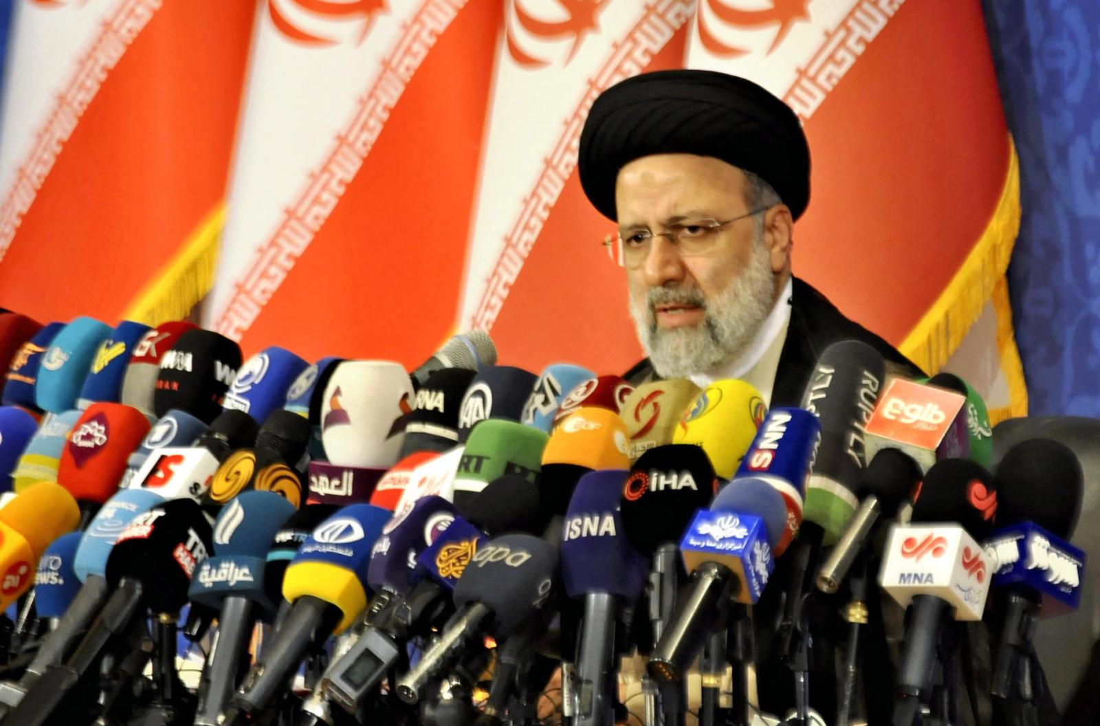 Iran's new President-elect Ebrahim Raisi holds a press conference in Tehran on June 21. Photo: AFP / Shota Mizuno / The Yomiuri Shimbun