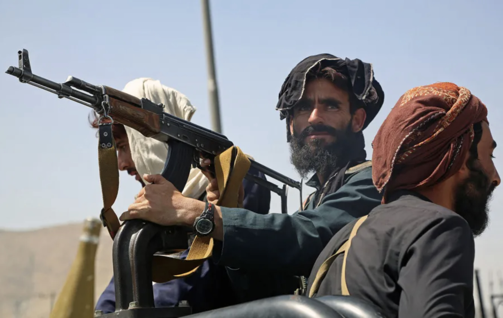 Taliban fighters stand guard in a vehicle along the roadside in Kabul on August 16, 2021, after a stunningly swift end to Afghanistan's 20-year war. Photo: AFP