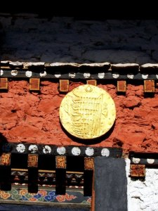 Gold decorations are placed here and there at one of the Best Places To Visit In Thimphu Bhutan, an ancient temple named Changangkha Lhakhang