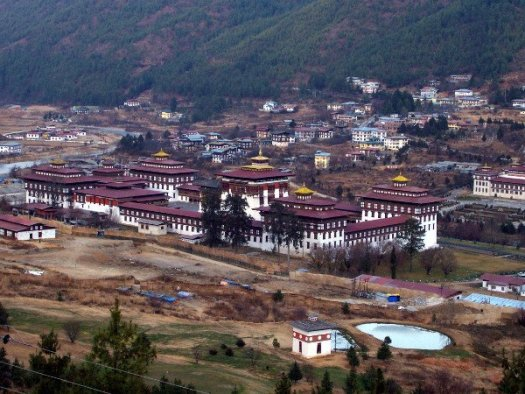 One of the Best Places to Visit in Thimphu Bhutan - Tashichho Dzong as seen from afar