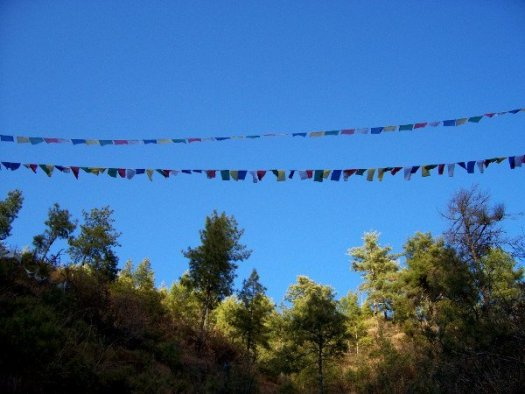 Prayer Flags High Up on Radio Tower Hill