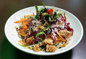 Best Places To Eat In Singapore - New Green Pasture Cafe - Rainbow Salad with Charcoal Noodles