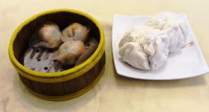 steamed prawn dumplings and cha siew baos (bbq pork baos)