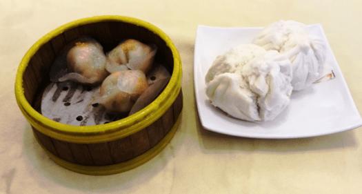Steamed shrimp dumplings and cha siew baos (bbq pork baos)