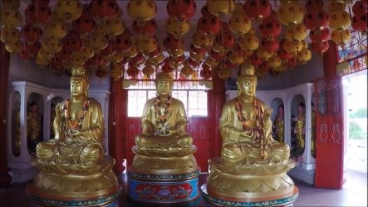 Three Buddhas in Theravada Buddhism Prayer Hall