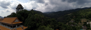 Panorama view of Penang hill and huge Kuan Yin statue