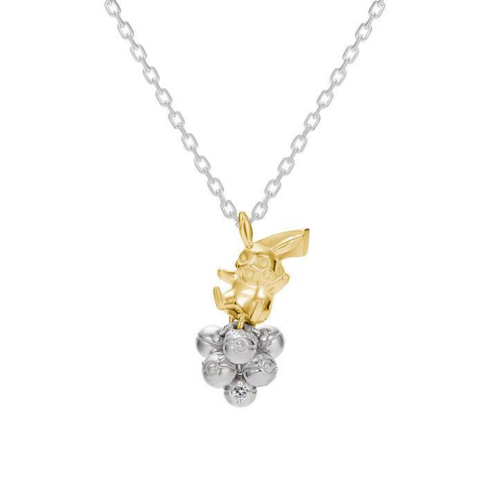 The Pikachu and Pokéball Necklace, made of silver and K18 yellow gold. This necklace retails for 38,000 yen ($377.81 US) including tax and comes with a 0.01 carat diamond fastened into the bottom-most Pokéball.