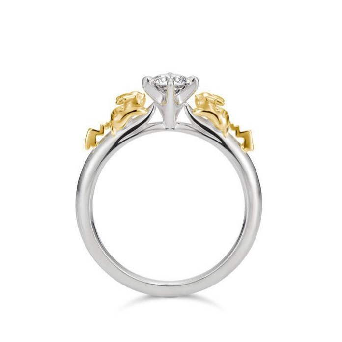 The Pikachu Solitaire Ring, made of silver and K18 yellow gold. The base version retails for 59,000 yen ($586.60 US) including tax and comes inset with a cubic zirconium, although other gemstones are available for various prices.