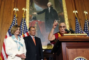 US Congressional leaders Nancy Pelosi and John Boehner welcome the Dalai Lama at the US Capitol, July 7, 2011.